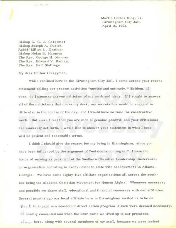 Part of the original letter. April 1963